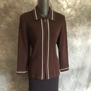 ST JOHN COLLECTION KNIT BROWN JACKET SIZE 4